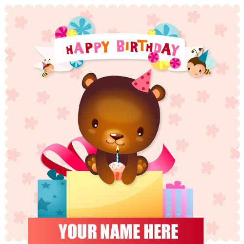 Happy Birthday Wishes Cute Teddy Greeting With Name