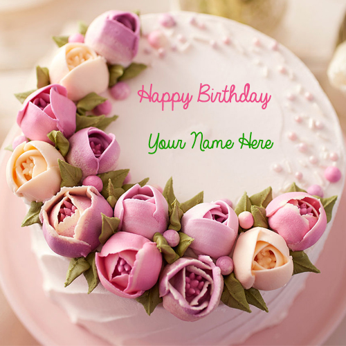 Happy Birthday Delicious Flower Cake With Your Name