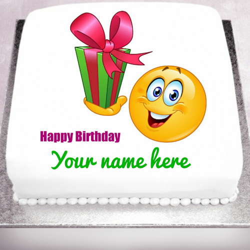 Happy birthday name cake with cute smiley and gift negle Image collections