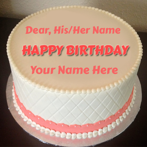 Buttercream Fondant Accents Birthday Cake With Name