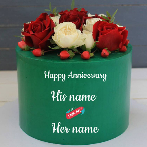 Lovely Cake For Anniversary Wishes With Couple Name