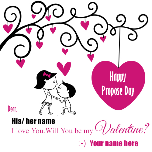 Write name on Happy Propose Day profile pic