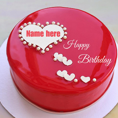 Write Name on Romantic Red Mirror Birthday Heart Cake