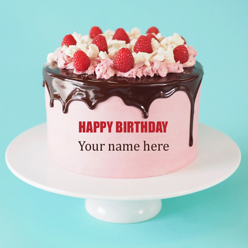 Chocolate Strawberry Birthday Cake With Your Name