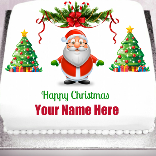 Merry Christmas Wishes Santa Claus Cake With Your Name