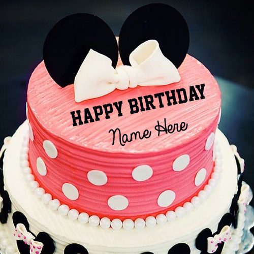 Cute Minnie Mouse Happy Birthday Cake With Your Name