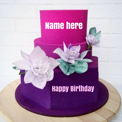 Dark Blue Double Layer Floral Art Cake With Friend Name