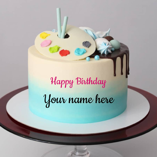 Lovely Fondant Cake For Happy Birthday Wishes With Name