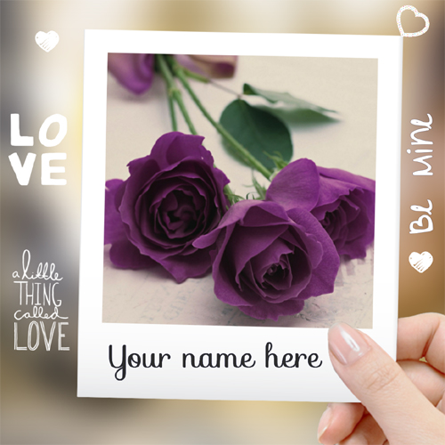 Personalized Cute Purple Rose Love Note With Your Name