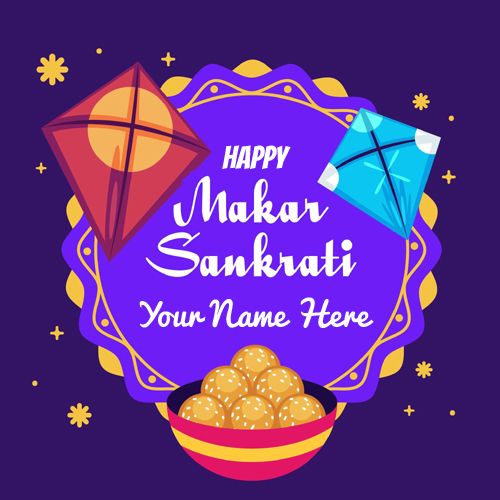 Sankranti Kite Greeting For Uttarayan Wishes Name Pics