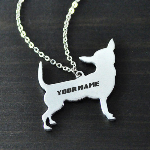 Silver Dog Necklace Jewelry With Your Name