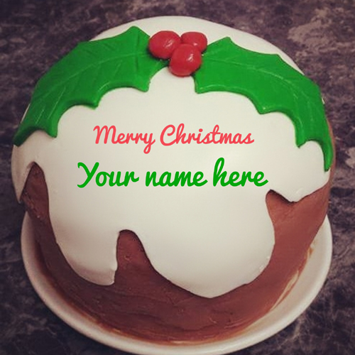 Beautiful Merry Christmas Wishes Cake With Your Name