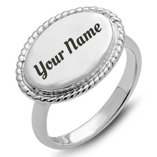 Oval Rope Accent Engagement Ring With Custom Text