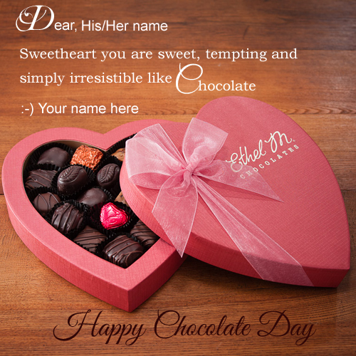Happy chocolate day greeting with your name generate greeting m4hsunfo