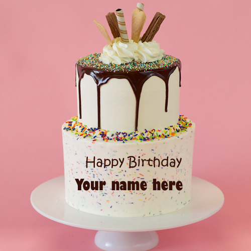 Happy Birthday Double Decker Chocolate Cake With Name