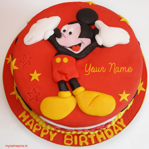 Write name on micky cartoon birthday cake pics