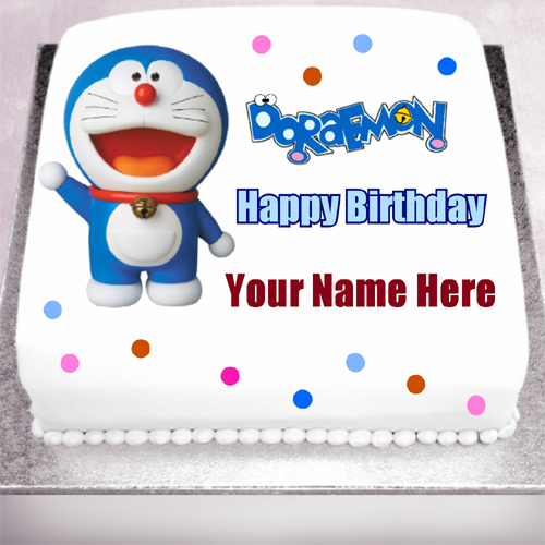 Happy Birthday Doraemon Cartoon Kids Cake With Name