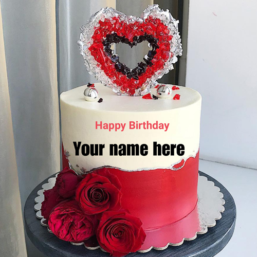 Romantic Double Layer Heart Birthday Cake With Name