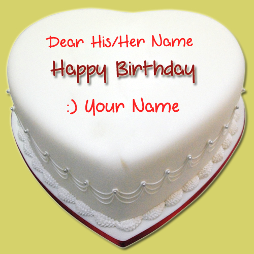Beautiful Heart Shape Birthday Cake With Your Name