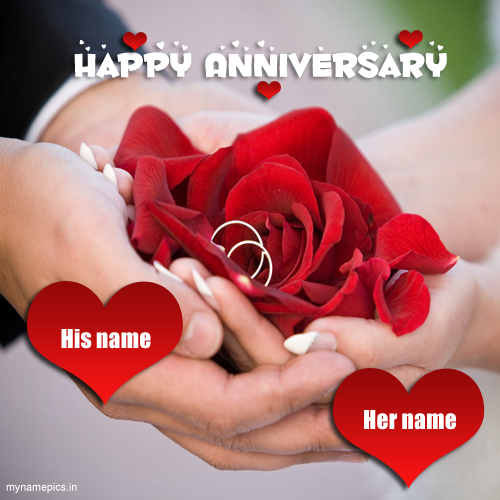 Write Name On Happy Anniversary Greeting Card Pics