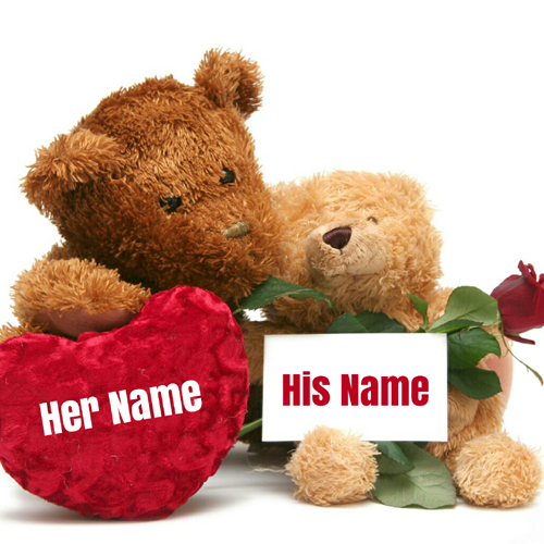Cute Romantic Teddy Couple Greeting With Your Name
