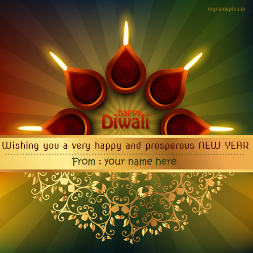 Write name on diwali and happy new year profile pic.