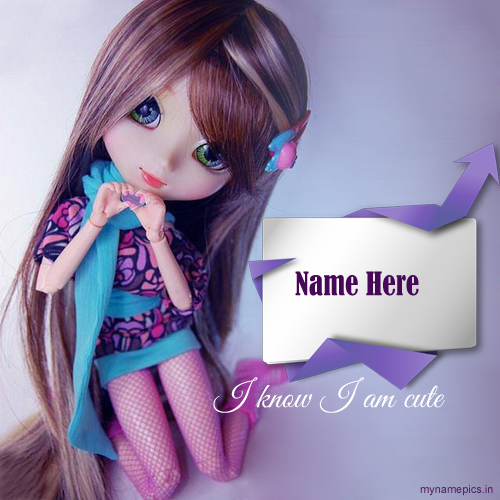 Write Your Name On Small Cute Baby Doll Pic