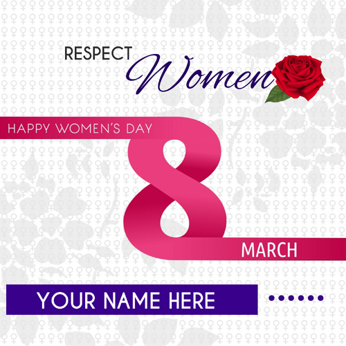 Womens Day Wishes Designer Greeting With Custom Name
