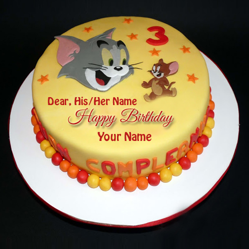 Cute Tom and Jerry Birthday Cake With Your Name