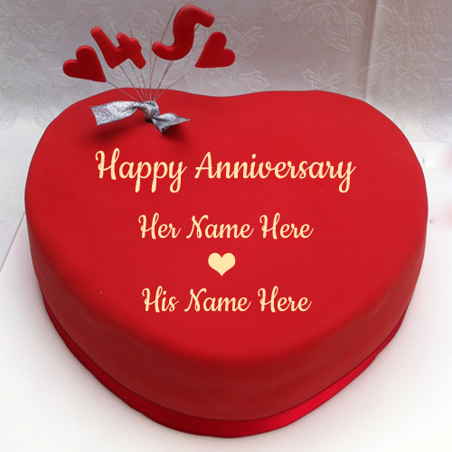 Beautiful Red Heart Fondant Name Cake For Anniversary