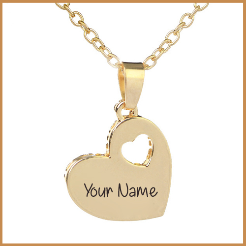 Love Heart Gold Necklace for Women With Her Name