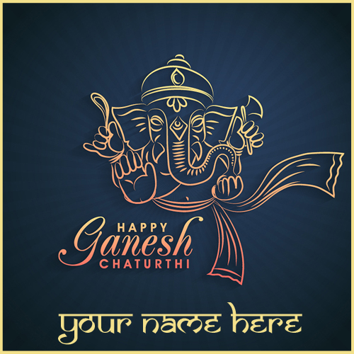Lord Ganesh Chaturthi Celebration Name Greeting Card