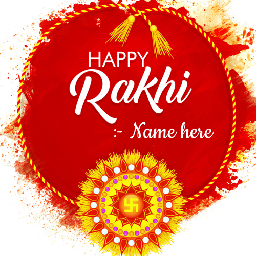 Happy Rakhi Day Wishes Red Greeting Card With Your Name