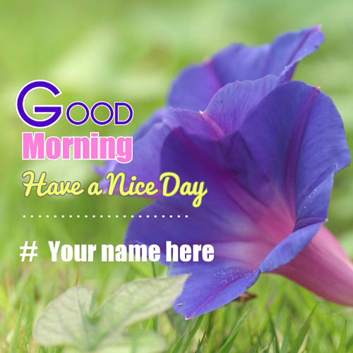 Good Morning Greeting With Purple Flower And Your Name