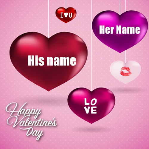 Happy Valentines Day Heart Greeting With Couple Name