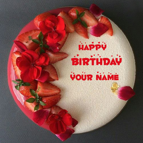 Happy Birthday Buttercream Strawberry Cake With Name