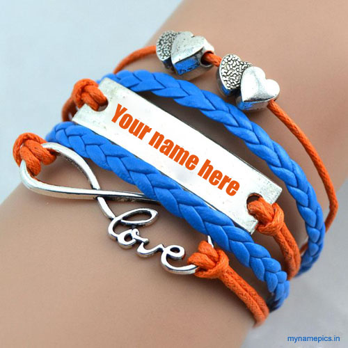 Write your name on beautiful love bracelet pic