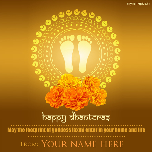 Write your name on happy dhanteras goddess laxmi profil