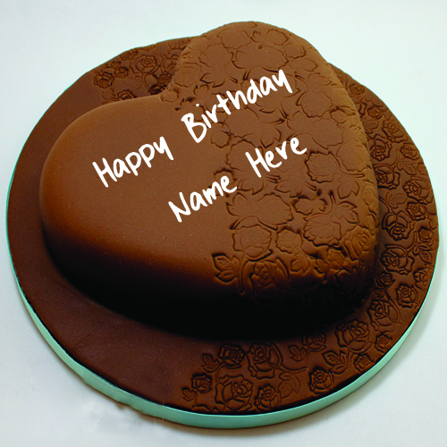 Beautiful Heart Shape Chocolate HBD Cake With Your Name