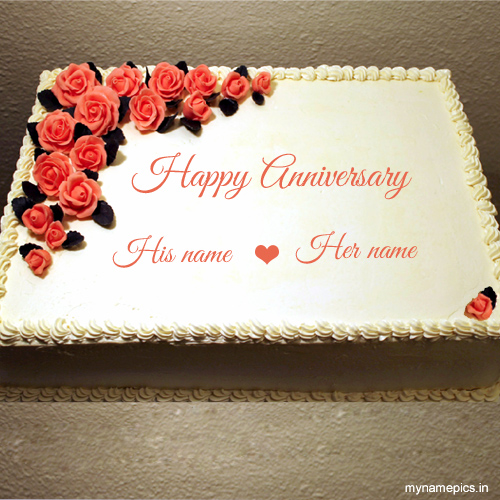 Write name on flower anniversary cake online