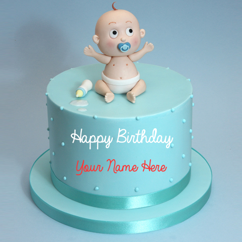 Cute Baby Boy First Birthday Cute Cake With Name