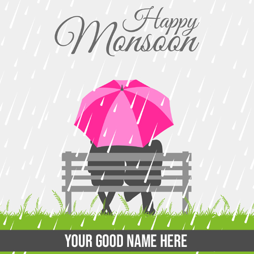 Happy Monsoon Wishes Love Couple Greeting With Name