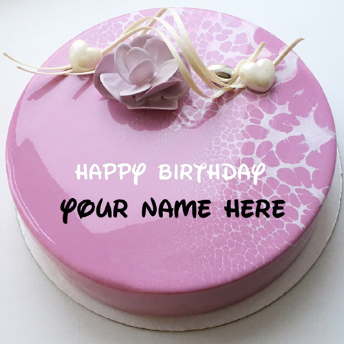 Mirror Glazed Purple Floral Birthday Cake Pic With Name
