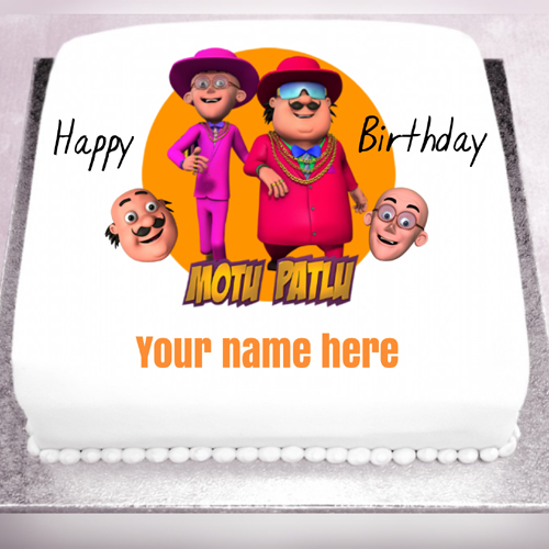 Write Name on Cute Motu Patlu Cartoon Cake For Kids