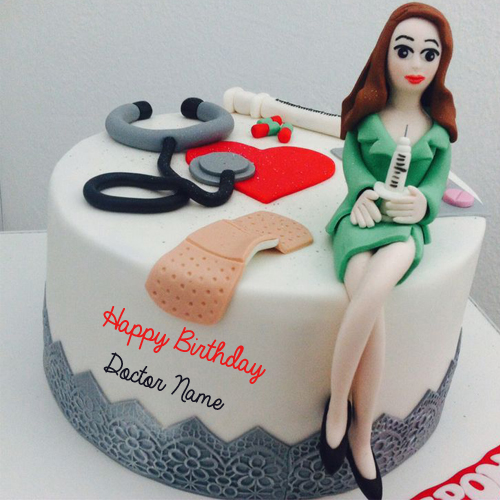 Lady Doctor Birthday Wishes Designer Cake With Name