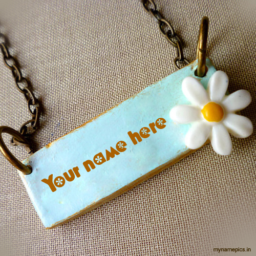Write your name on beautiful flower necklace picture
