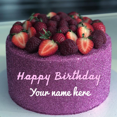 Happy Birthday Purple Glitter and Fruit Cake With Name