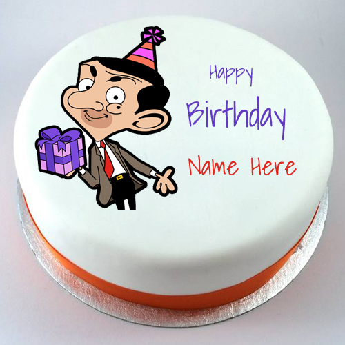 Cartoon Birthday Cake Images With Name : Happy Birthday Mr Bean Funny Cartoon Cake With Name