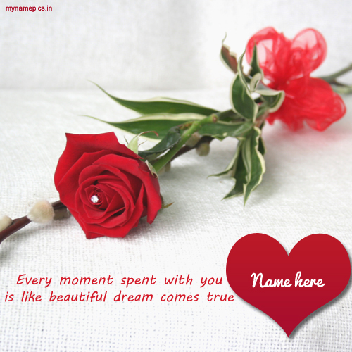 Write name on rose love heart profile pics