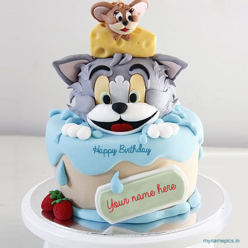 write name om Tom and Jerry birthday cake profile pic